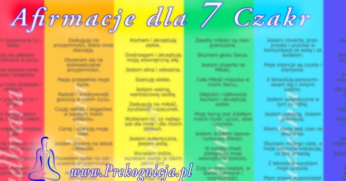 Afirmacje 7 czakr - Afirmacje do pracy z czakrami (plakat)